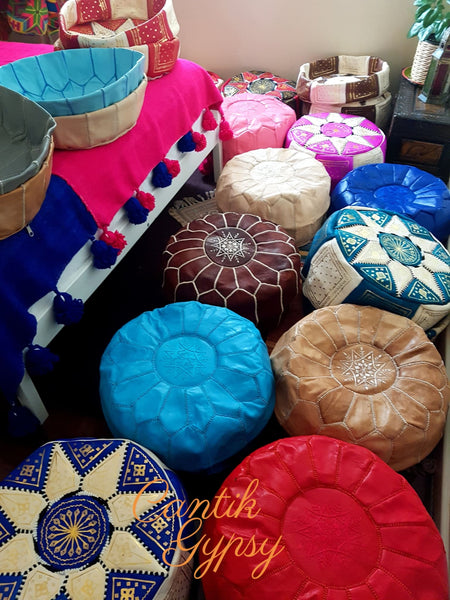 || Order Now Moroccan Traditional Leather Pouffe - Natural Tan