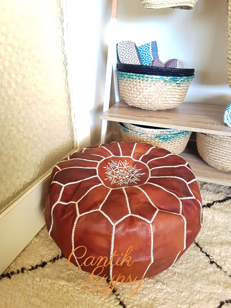 || Order Now Moroccan Traditional Leather Pouffe - Red Brown