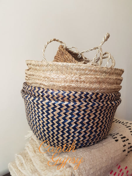 Vietnamese Seagrass Basket - Blue