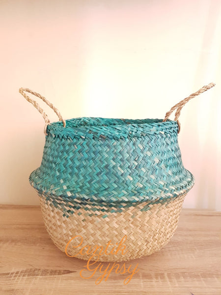 Vietnamese Seagrass Basket - Green