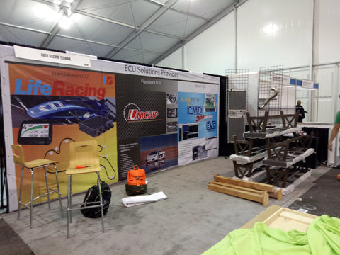 Setting up booth @ SEMA 29-Nov-17