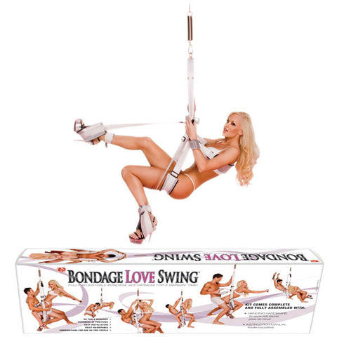 Bondage Love Swing Topco - Fully adjustable bouncing and spinning sex swing - Comfortable white and silver neoprene cushioned seat, back and foot supports - EZ release removable padded Velcro© wrist and ankle restraints - D-rings bind arms behind body, to the sides or above head - Ankle restraints can be attached to any of the D-rings - Love positions manual included - Includes EZ installation instructions and hanging hardware - Weight capacity: up to 90 kg with spring; up to 180 kg without spring