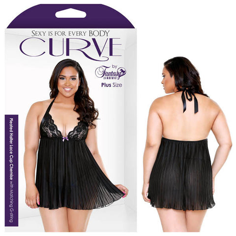 Curve Pleated Halter Lace Cup Chemise & Matching G-String