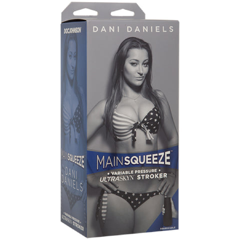 Main Squeeze - Dani Daniels Doc Johnson Shes always within reach. Doc Johnsons Main Squeeze line of hard case masturbators starring our most popular porn star molds is designed to put the power in your hands, featuring a squeezable grip that lets you vary the tightness of each stroke and a suction-adjusting end cap. Molded directly from the insatiable Dani Daniels body, this ULTRASKYNT stroker looks and feels just like thrusting into her perfect pussy. Each ULTRASKYNT sleeve features a different textured in
