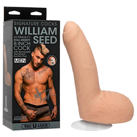 Signature Cocks - William Seed Doc Johnson Molded directly from Men.com star William Seed, this ULTRASKYN cock is thick and uncut, as nature intended. The authentic details and lifelike material of this hefty replica dildo feel so real its like youre really experiencing the French jackhammering sensation with the perfect ass. Handcrafted to feel real and warm to the touch, Williams 8 inch cock is here to make your porn star fantasy come true. - Handcrafted from ULTRASKYN, for The Ultimate Feel - Molded Dire