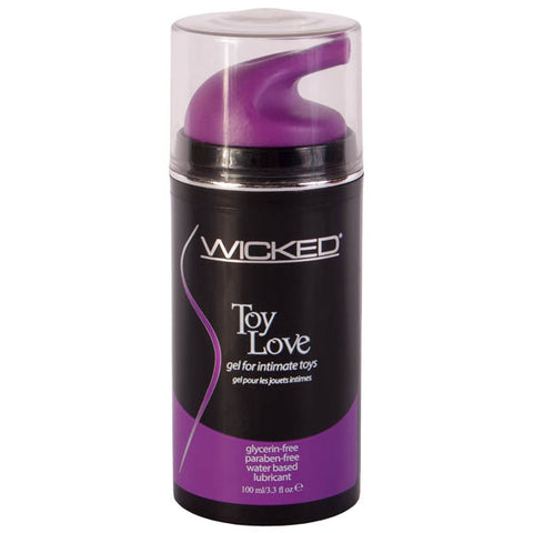 Wicked Toy Love Wicked Take your toy-play to the next level with this cutting edge lube developed specifically for erotic toys. This rich & decadent Gel lubricant stays in place without running or mess. Its super thick texture conducts & enhances vibrations. The addition of Aloe is never sticky and leaves skin velvety soft. - Glycerin -Free - Paraben -Free - Non- drip formula - Safe for all toys and Latex To Use: Apply to toy or body where lubrication is desired. Cleans away easily with water. Cauti