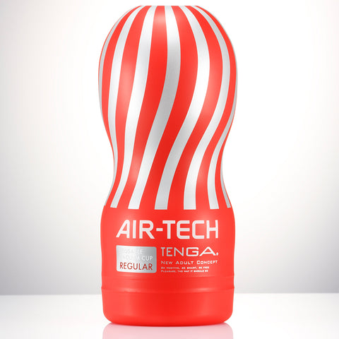 Air-Tech Reusable Vacuum Cup Tenga Made in the likeness of the Original Vacuum CUP – TENGA's flagship item that made the TENGA CUP Series a global success. Featuring TENGA's renowned suction mechanism, the AIR-TECH Series use no internal sponge, making them hygienic and safe to wash and reuse! The new removable sleeve makes the cups easy to clean! Also featuring an all-new airflow structure for even more amazing sensations! The AIR-TECH comes in three different strengths. Choose from Gentle (