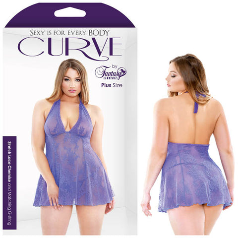 Curve Viola Stretch Lace Chemise & Matching G-string Fantasy Lingerie This romantic stretch lace chemise is constructed with soft lace in a beautiful periwinkle hue. Tie back halter with a delicate lace trim and deep V neck reveals feminine curves and sheer coverage. This draping body falls subtly below hips and includes matching G-string. Features: - Stretch Luxury Lace Chemise - Tie Back Halter - Deep V-neck - Matching G-string Fabric Content: 100% Nylon Washing Instructions: Hand wash separately in cold