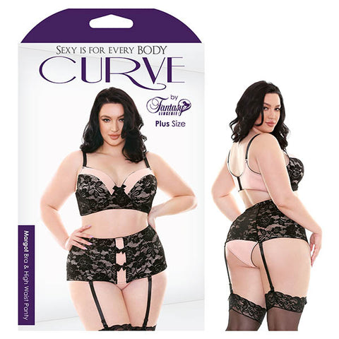 Curve Margot Bra & High Waist Panty Fantasy Lingerie Really got for it in this plush lace and microfibre longline bra with matching high waist gartered panty pair. Contour cups for a comfortable fit, adjustable straps and hook & eye closure up top for the perfect amount of give. Bow detail, matching trim and detachable garters below top off this sassy style. Features: - Contour Cup - Floral Lace - Multiple Hook & Eye Closure - Detachable Garters Colour: Black/Petal Pink Fabric Content: 90% Polyamide