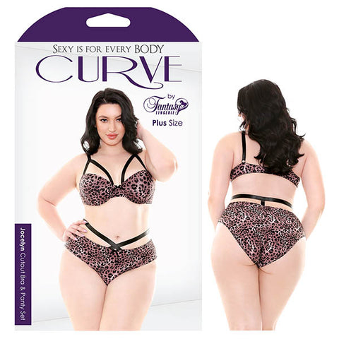 Curve Jocelyn Cutout Bra & Panty Set Fantasy Lingerie Cages and Leopards have never mixed this well before! Jocelyn cage style bra with contour cups, hook & eye closure and ultra-supportive thick, adjustable straps. Matching cage style panty to contain your wild side...at least for a little while. Features: - Contour Cups - Cage Look on Bra and Panty - Unique Leopard Print - Adjustable Straps Colour: Leopard Print/Black Fabric Content: 90% Polyamide 10% Spandex Washing Instructions: Hand wash separately
