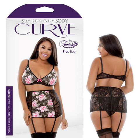 Curve Rosette Bralette, Garter Skirt & Panty Fantasy Lingerie This Rosette floral bralette, garter and panty set is made of sheer black microfiber and pale pink floral with bow accents. Its modest and classic with a little transparency in the black lace fabric to leave the mind to wander. The matching panty ties into this flattering dainty silhouette. Features: - Floral Print - Garter Skirt - Soft Cup Bralette - Matching Panty Fabric Content: 90% Polyester 10% Spandex Washing Instructions: Hand wash separat
