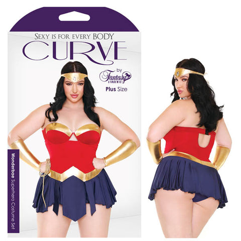 Curve Wonderbae Superhero Costume Set Fantasy Lingerie The people of the Amazons wont be the only ones bowing down to worship you in this wondrous 5 piece ensemble. Wonderbae set includes dress with gold, red and blue tones, a matching tiara, gold arm cuffs and lasso. Features: - Headpiece - Molded Cup Dress - Matching Panty - Wristcuffs and Rope Fabric Content: 90% Nylon, 10% Spandex Washing Instructions: Hand wash separately in cold water. Do not bleach. Flat dry. Size: 18-22 (AUS 22-26) Bust: 46-49 Hips: