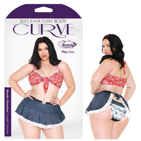 Curve Woodys Roundup Cowgirl Costume Fantasy Lingerie Like a cool glass of iced tea on a summer afternoon. The Woodys Roundup Costume set comes with a paisley top, featuring tie closures on the front and neck to get your ideal fit. Paired with the ruffled denim print skirt and matching panty, youll give new meaning to Southern Hospitality. Features: - Bandana Print - Front and Halter Ties - Denim Print - Dainty Ruffles Fabric Content: Top: 88% Polyester 12% Nylon Skirt: 90% Polyester 10% Spandex Washing Ins