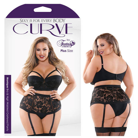 Curve Monique Bra & High Waisted Panty Fantasy Lingerie Contour Cup Bra with Cage Look and Matching High Waist Gartered Lace Panty Features: - Contour Cup - Cage Look - Hook & Eye Closure - Detachable Garters Fabric Content: 90% Polyamide 10% Spandex Washing Instructions: Hand wash separately in cold water. Do not bleach. Flat dry. Size: 18-22 (AUS 22-26) Bust: 46-49 Hips: 49-52