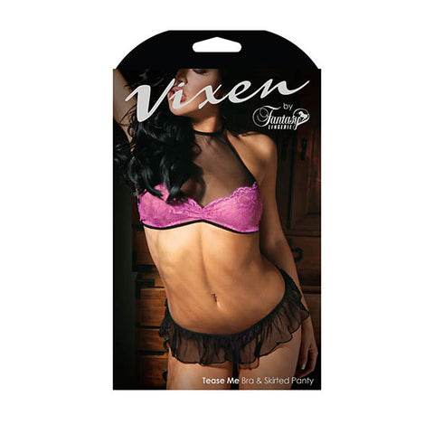Vixen Tease Me Bra & Skirted Panty Fantasy Lingerie Its not a request, its a command. The Tease Me set includes a fuchsia lace & mesh bralette with halter ties and a tie back for an adjustable fit. A matching skirted g-string tops off this wicked look. Features: - High Neck - Floral Lace - Tie Neck and Back for Adjustable Fit - Skirted Panty Colour: Black/Magenta Purple Fabric Content: 90% Nylon, 10% Spandex Washing Instructions: Hand wash separately in cold water. Do not bleach. Flat dry. Size: 2-14 (A