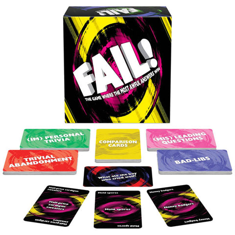 Fail! Kheper Games A player starts by reading one of the four category cards, (Mis)Leading Questions, (Im)Personal Trivia, Trivial Abandonment, or Bad-Libs. Other players discreetly submit their most awful answers, and the reader chooses the answer that FAILS! the most to win.