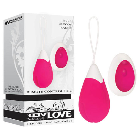 Evolved Remote Control Egg Evolved Immerse yourself in the exquisite sensations of this fully rechargeable vibrating egg! Not only does it boast ten different speeds and functions to titillate and tease, but its got a remote control that allows for hands free fun, and couples play! You can let this toy slip inside safely with its convenient retrieval loop and make sure you take your egg into the bath or shower with you too, as its completely waterproof and submersible! Clean up is a snap with Evolved Toy Cl