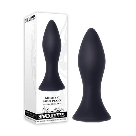 Mighty Mini Plug Evolved This compact, creamy smooth butt plug is perfect for beginners and advanced anal players alike! Lube up the classic bulbous shape, and start with the tapered tip as you relax and enjoy the unique feeling and find the vibration level that helps bring you to a powerful climax. Clean with Evolved toy cleaner and a hot water rinse. - Powerful vibrating butt plug - Perfect for beginner or advanced anal play - 20 vibrating functions & speeds - Easy to use 1-button control - Made from