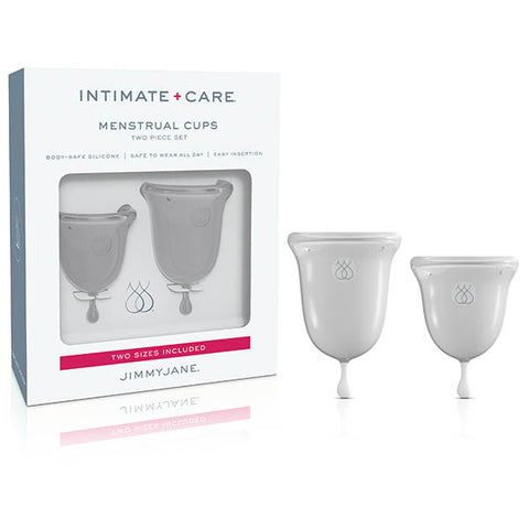 Jimmyjane Intimate Care Menstrual Cups Pipedream Progressive period care, by design. We know your lifestyle is busy and diverse. Jimmyjanes pure silicone menstrual cups offer a custom solution for your unique, active lifestyle. Created with the intimate female body in mind, the bell-shaped curves hug contours, while the fuller, ergonomic rim was designed to prevent any type of leakage. Conveniently flexible for easy insertion. Removing your cup couldnt be simpler with strategic anti-suction holes that allow
