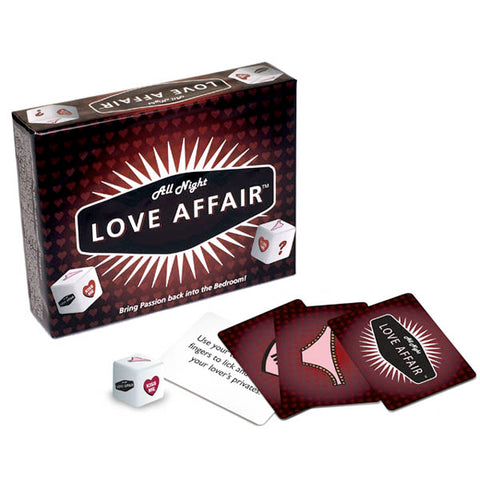All Night Love Affair Little Genie This card game comes with one game die and 96 game cards. There are 32 cards for each of the three card categories. Players take turns rolling the die and following the instructions on the game cards. After a player has rolled at least 5 times he or she is now able to draw a Love Affair card if rolled. The first person to roll a Love Affair card wins the game and gets to act out the instructions on the card.