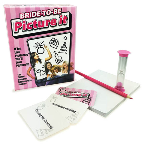 Bride-To-Be Picture It Little Genie This is a bridal party specific game that gives you wedding themed challenges to draw. You dont need to be a great artist to be good at Picture It. You just need to be creative and draw the right thing at the right moment. Laughter will ensue with the silly scribbles sketched in pursuit of the correct answer. Contents: 90 challenge cards, 1-minute timer, 1 50-sheet paper pad and 1 pink pencil