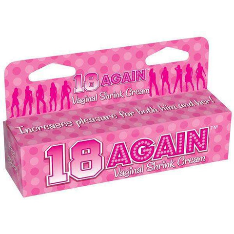 18 Again! Little Genie Make Your Vagina Feel 18 AgainT! Recapture your vaginas youth! 18 AgainT vaginal tightening cream will make you feel younger and sexier while also increasing pleasure for both you and your lover. For that perfect fit, use 18 AgainT!