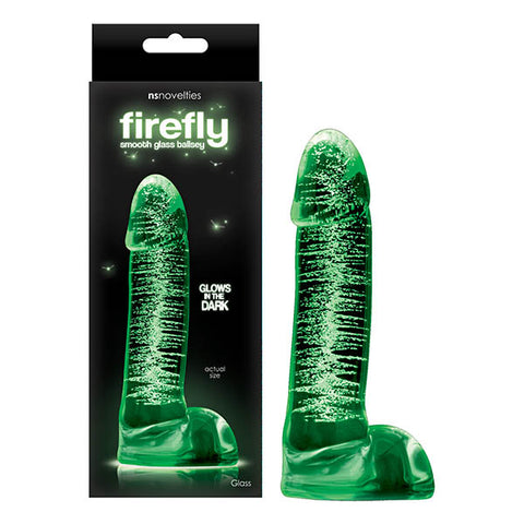 Firefly Glass - Smooth Ballsey NS Novelties Firefly Glass - dreamy, playful and functional. Seductive and enticing, these glow in the dark little wonders are your ticket for endless fun when the sun goes down. Made of superior quality borosilicate glass with proven shapes designed to perform. Available in assorted sizes and suitable for all lubricants. Turn off the lights and turn on the fun. Product Dimensions: 13.2 cm x 4 cm x 6 cm Packaged Weight: 264.6 grams Product Material: Glass