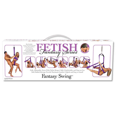 Fetish Fantasy Series Fantasy Swing Pipedream With the incredible Fantasy Swing youll be swinging your sex life back into action in no time at all! Installation is quick and easy and requires only a few common tools. Includes: Heavy-Duty Steel Eyelet Bolt Heavy-Duty Link Chain Torsion Spring Metal Support Bar 2 Large Padded Supports for Butt and Back 2 Small Padded Stirrups for Legs 2 EZ-Open Connecting Hooks Instruction Sheet Free Satin Love Mask INSTRUCTIONS: The eyelet bolt of the Fantasy Swing can be in