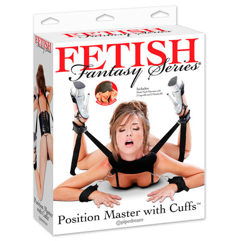 Fetish Fantasy Series Position Master With Cuffs Pipedream Let your imagination take you beyond your physical limits with the Position Master with CuffsT. The sturdy straps hold your legs firmly in place so they dont tire just when things are getting good, while the wrists cuffs ensure your subject wont escape anytime soon. The neck harness is soft and cushioned allowing for maximum comfort. The straps adjust quickly and easily with a simple tug, so you control the placement of your legs at any point during