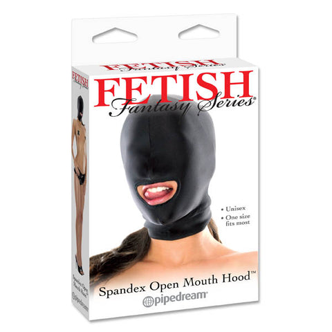 Fetish Fantasy Series Spandex Open-Mouth Hood Pipedream This comfortable open-mouth hood is designed to stretch completely over the head, allowing just a hint of light in while impairing vision and awakening other senses. The shiny black hood can be worn by him or her, and the thin lightweight fabric makes breathing and hearing a snap. Best of all, you still have access to your subjects mouth! One size fits most.