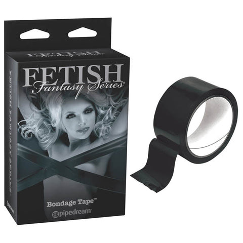 Fetish Fantasy Series Limited Edition Bondage Tape Pipedream With this non-sticky bondage tape by your side, youll always be ready for some sexy bondage fun. This shiny PVC tape only sticks to itself, so it does not pull hair or leave any sticky residue. Its perfect for the novice and the fetish aficionado alike. Bondage Tape can be used to bind, gag, blindfold, or dress the object of your affection. Its easy to use and visually stunning. Wrap your lover up tonight, its bound to please you both! Approximate