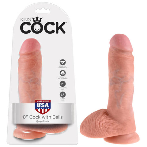 King Cock 8 Cock With Balls Pipedream Do you want your first dildo to look and feel just like the rock-hard stud youve always fantasised about? Stop dreaming and get down with the King! Every vein, every shaft, and every head is carefully handcrafted with exquisite detail to give you the most realistic experience ever imagined. The powerful suction cup base sticks to nearly any flat surface and makes every dildo harness compatible. Made in Pipedreams state-of-the-art rubber manufacturing facility, every Kin