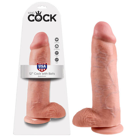 King Cock 12 Cock With Balls Pipedream Do you want your first dildo to look and feel just like the rock-hard stud youve always fantasised about? Stop dreaming and get down with the King! Every vein, every shaft, and every head is carefully handcrafted with exquisite detail to give you the most realistic experience ever imagined. The powerful suction cup base sticks to nearly any flat surface and makes every dildo harness compatible. Made in Pipedreams state-of-the-art rubber manufacturing facility, every Ki
