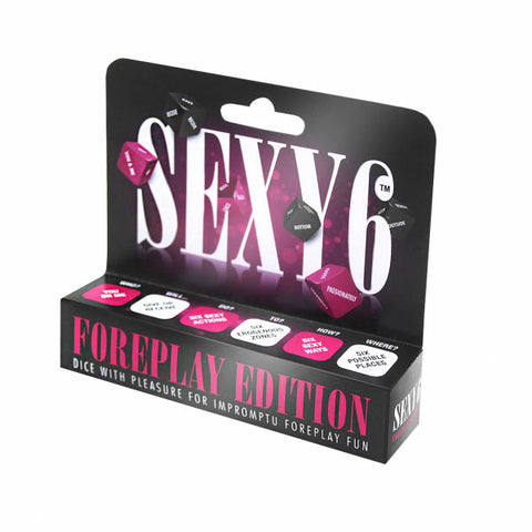Sexy 6 - Foreplay Edition Creative Conceptions Let the Sexy 6 Dice dictate your foreplay fate. With 720 possible outcomes you can be sure to keep variety and spontaneity alive in your relationship. Feel the anticipation build as you roll each dice in turn to gradually reveal the formula for your fun. Die 1: Will it be you or me in the hot seat. Die 2: Will we be giving or receiving the treat. Die 3: What foreplay fun is to be done? Die 4: What body part is to receive the love? Die 5: How will the pleasure b