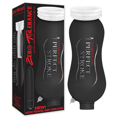 Perfect Stroke Vibrating Zero Tolerance - Travel size vibrating masturbator to take on the go - Includes a powerful vibrating bullet for maximum pleasure - Patented Accumulation Technology - Sucks and strokes flaccid and erect penises - Experience full body orgasms - Perfect for erectile dysfunction - Ejaculate flaccid or erect - Custom tapered stroker for life-like feel - Phthalate and latex free