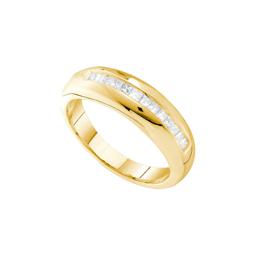 14kt Yellow Gold Mens Princess Natural Diamond Band Wedding Anniversary Ring 1/2 Cttw