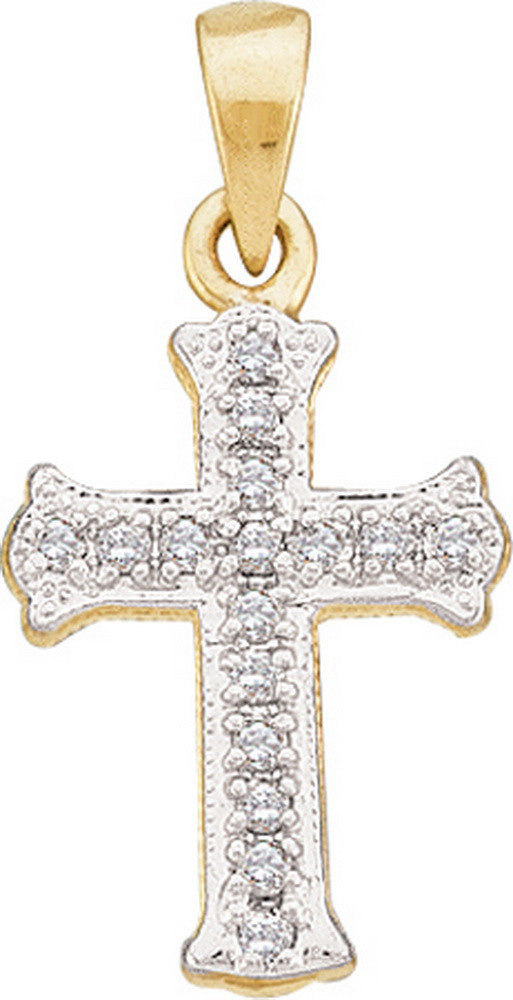 10k Yellow Gold Round Natural Diamond Scalloped Womens Christian Cross Pendant 1/12 Cttw
