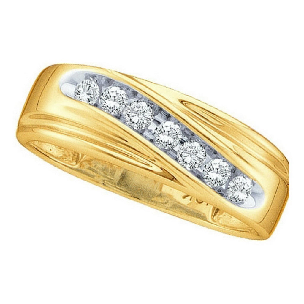 10k Yellow Gold Round Channel-set Natural Diamond Mens Curved 2-tone Wedding Band 1/4 Cttw