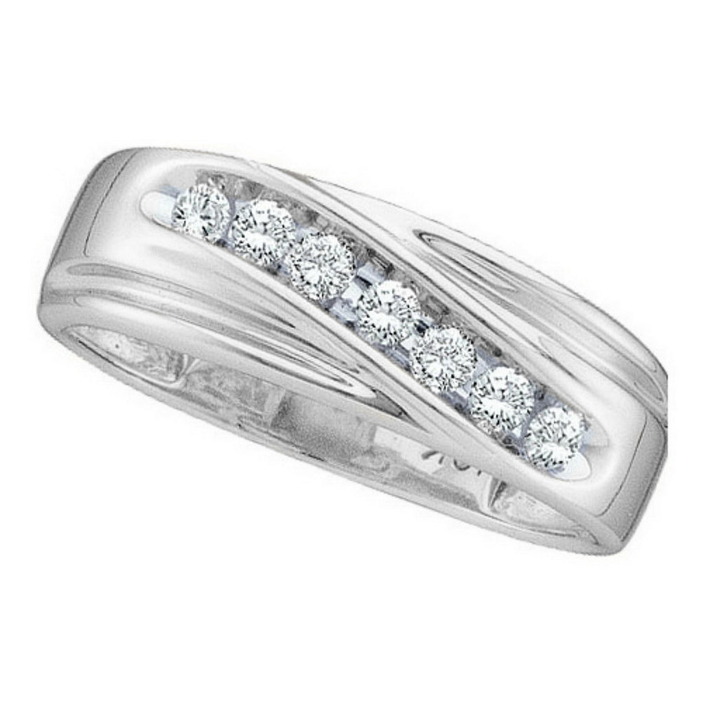 10k White Gold Round Channel-set Natural Diamond Mens Curved WG Wedding Band 1/4 Cttw
