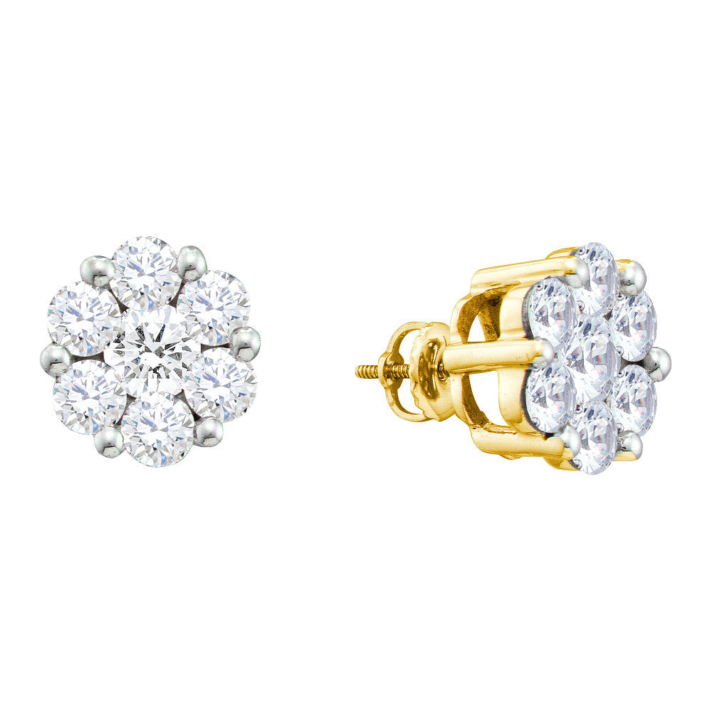 14k Yellow Gold Round Natural Diamond Flower Cluster Womens Large Screwback Stud Earrings 1 & 1/2 Cttw