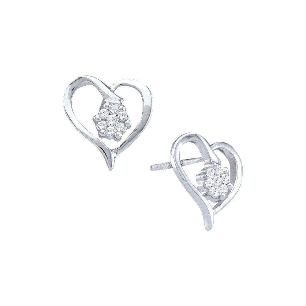 1deb8ffc1 10k White Gold Round Diamond Flower Cluster Heart Love Anniversary  Screwback Stud Earrings 1/6