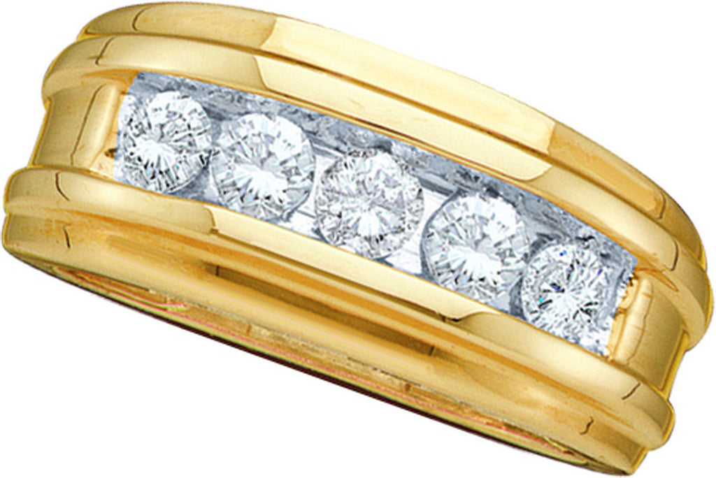 14k Yellow Gold Round Channel-set Natural Diamond Mens Masculine Wedding Band 1/2 Cttw