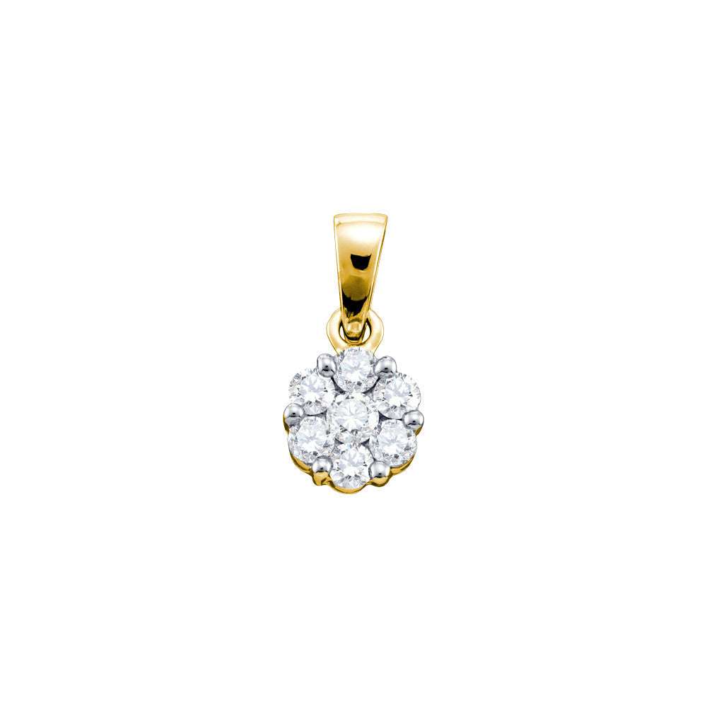 14k Yellow Gold Round Natural Diamond Flower Cluster Womens Fine Pendant 1.00 Cttw