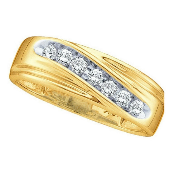 14k Yellow Gold Round Channel-set Natural Diamond 8-13 Mens Curved 2-tone Wedding Band 1/4 Cttw