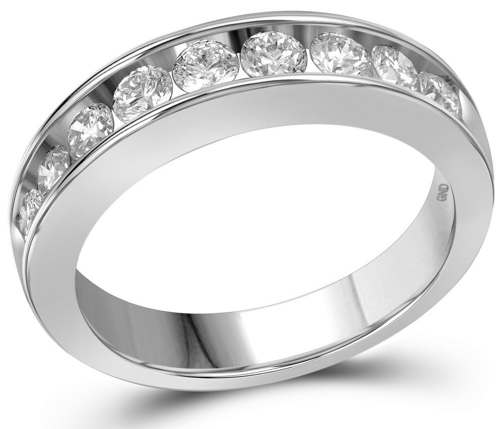 14kt White Gold Womens Round Natural Diamond Band Wedding Anniversary Ring 1.00 Cttw
