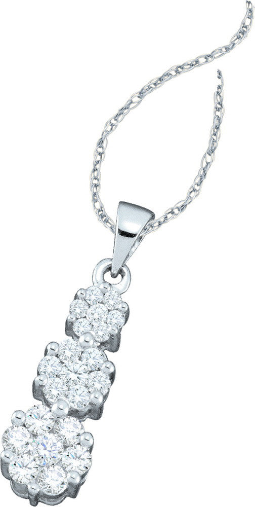 14k White Gold Round Diamond Triple Flower Cluster Womens Fine Trinity Pendant 1/2 Cttw