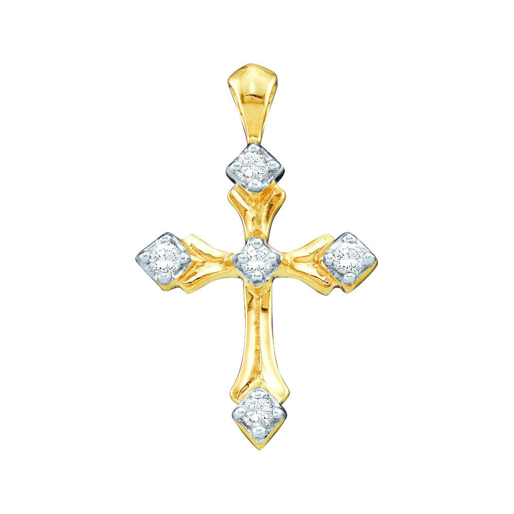 10k Yellow Gold Round Natural Diamond Christian Cross Womens Fine Charm Pendant 1/10 Cttw