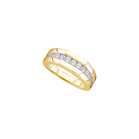 14k Yellow Gold Round Channel-Set Natural Diamond Mens 2-Tone Wedding Band 1/2 Cttw
