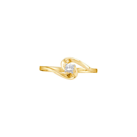10k Yellow Gold Round Natural Diamond Womens 1/10 Cttw Solitaire Dainty Swirl Promise Ring