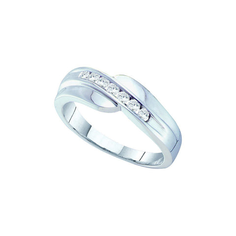 14k White Gold Round Channel-Set Natural Diamond Mens Masculine Curved Wedding Band 1/4 Cttw